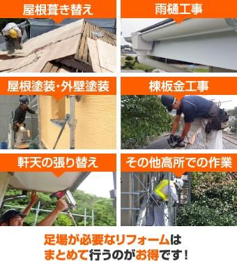 屋根葺き替えや塗装工事など足場が必要な工事はまとめて行うのがお得