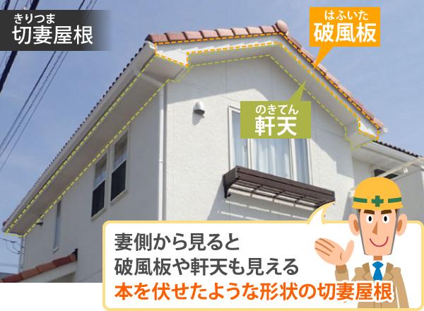 切妻屋根は妻側から見ると破風板や軒天も見える本を伏せたような形状の切妻屋根