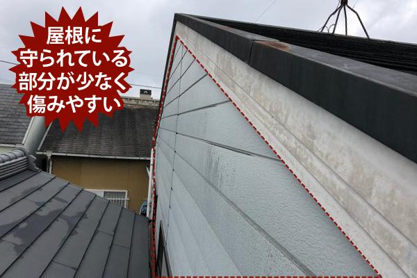 屋根に守られている部分が少なく傷みやすい