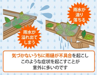雨樋の不具合で起こる症状