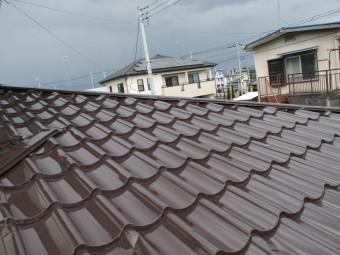 板金屋根塗装の上塗り塗装完了です