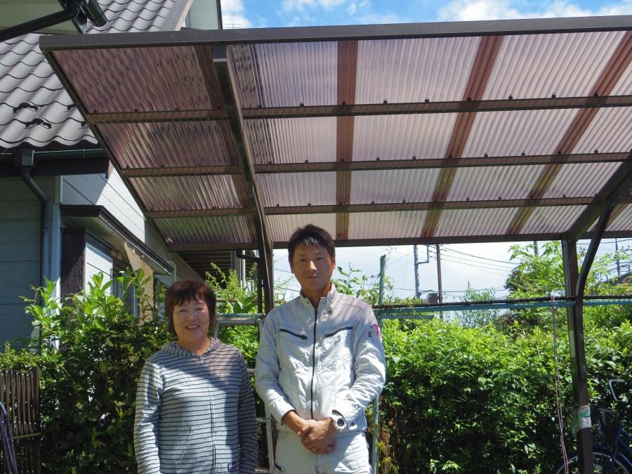 鹿沼市でテラス・カーポート屋根材の補修工事を行いました。