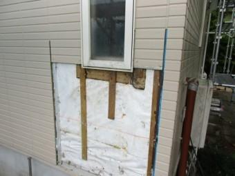 破損個所の外壁を取り除きました