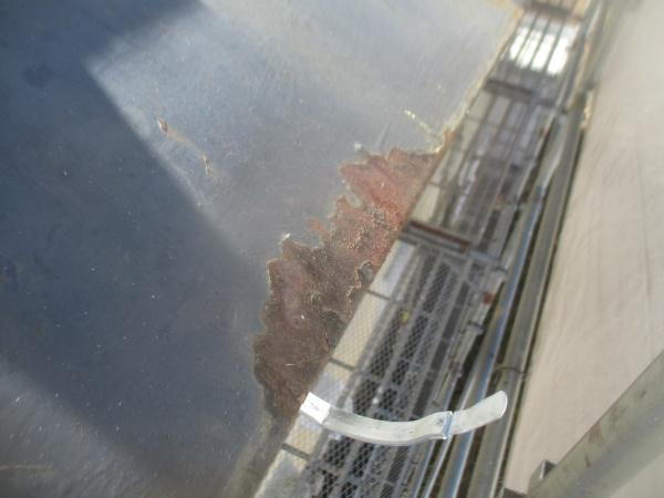 板金屋根の傷んだ箇所です