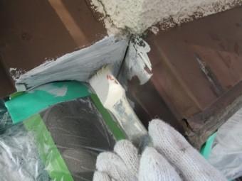 壁水切りの板金さび止め塗装中です