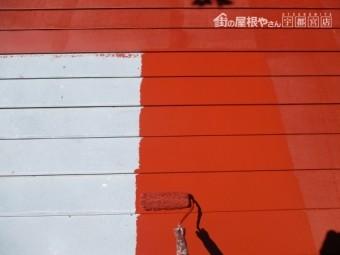 板金屋根のさび止め塗装中です