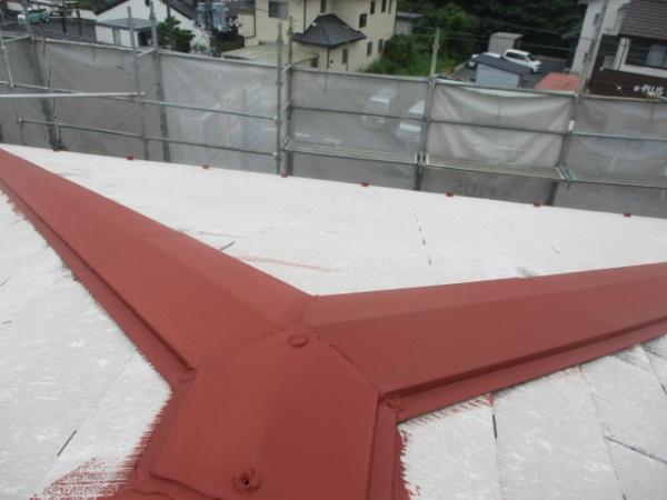 棟板金の錆止め塗装が終了しました