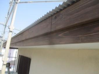 破風板に防腐剤を塗装しました