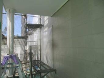 1階の外壁上塗りが終了しました