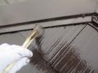 コロニアル屋根の上塗り刷毛塗装中です