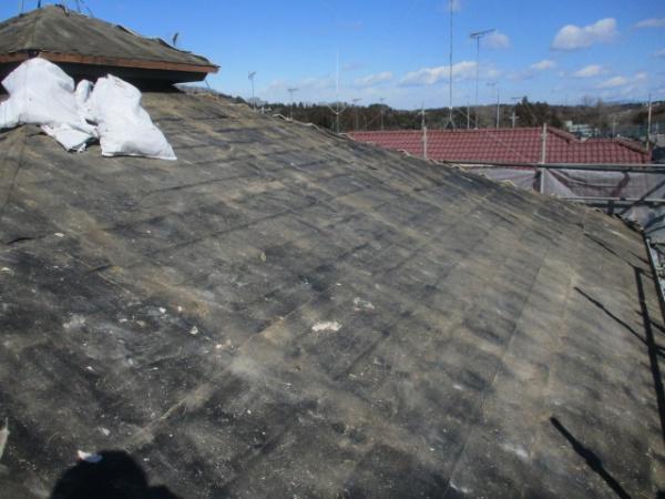 大屋根の屋根材撤去が終了しました