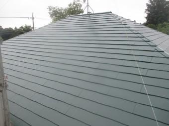 スレート屋根の上塗りが終了しました