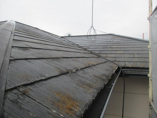 洗浄前のコロニアル屋根の状態です