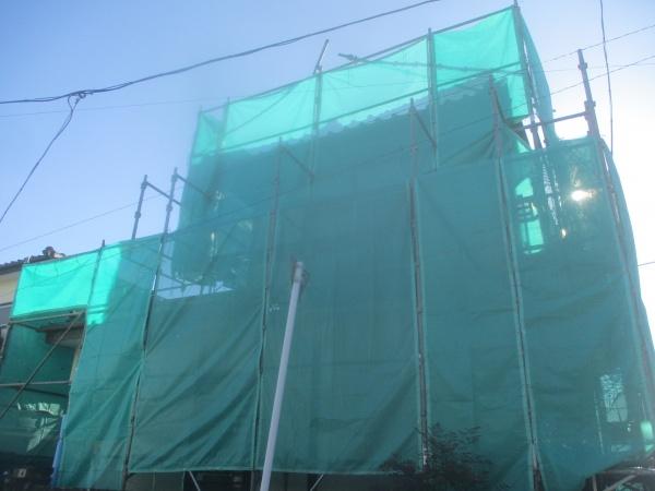 宇都宮市でリシン吹付外壁の塗装工事が着工しました。