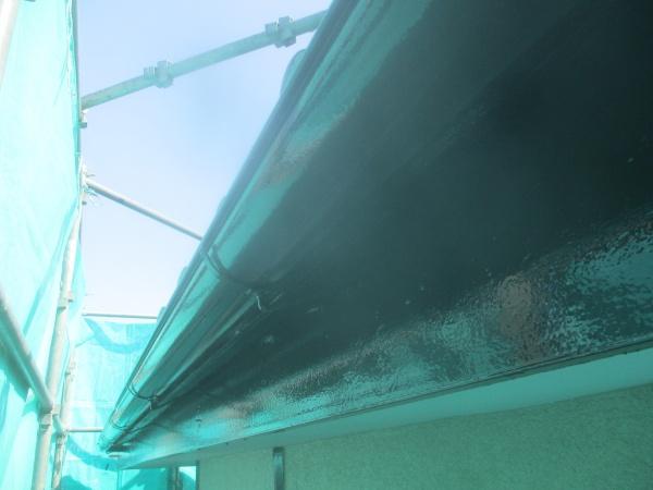 軒樋破風の上塗り終了です