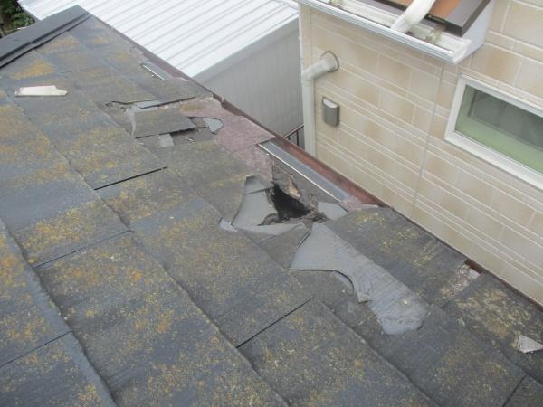 屋根の破損個所です