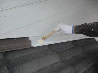 壁水切りの錆止め塗装中です
