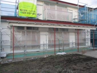 外壁塗装の下塗りが終了しました