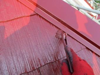 棟板金の上塗りだめ込み中です