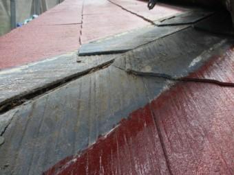 破損した貫板を撤去しました