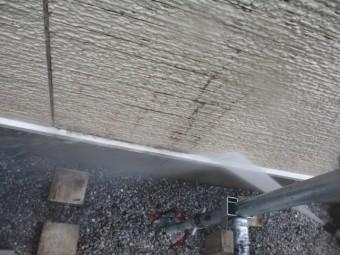 壁水切りの洗浄中です