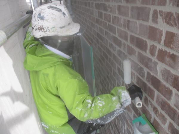 外壁ローラー中塗り中です