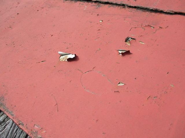 塗幕の傷んだ箇所です