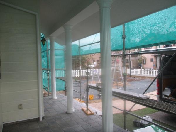 玄関化粧柱塗装の完工です