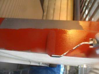笠木のさび止め塗装中です