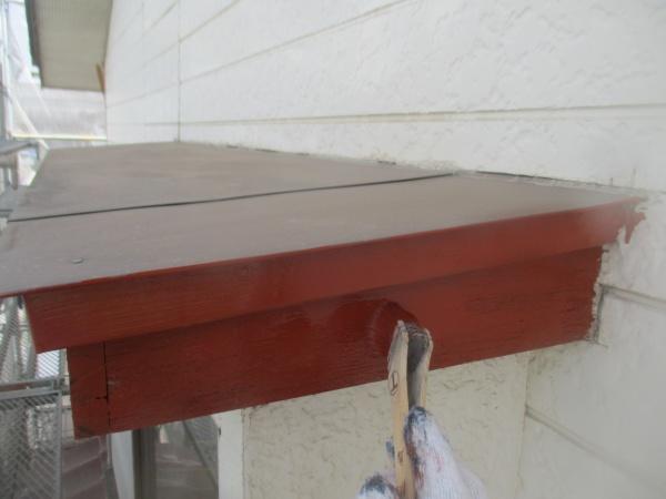 破風板さび止め塗装中です