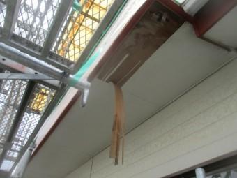 軒天の破損箇所です