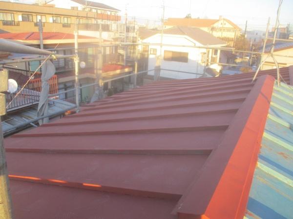 大屋根北面の錆止め塗装が終了しました