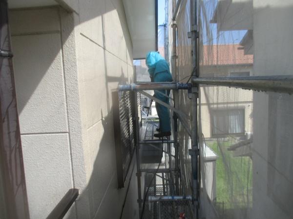 2階の外壁洗浄中です