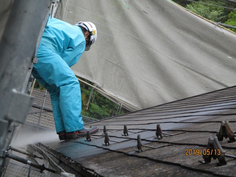 宇都宮市K様、屋根高圧洗浄