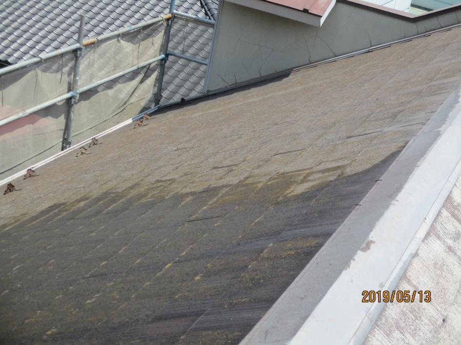 宇都宮市K様、屋根高圧洗浄、半分