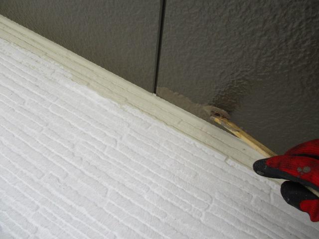軒天刷毛塗装中です