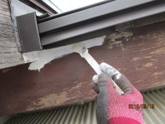 破風板の下塗り中です