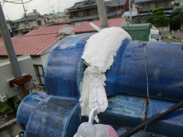 宇都宮市で屋根漆喰ストロングを使い鬼首の漆喰工事をしました。
