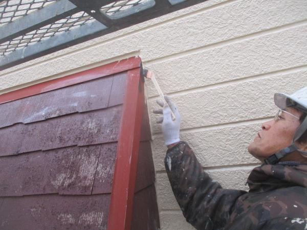 庇の刷毛塗装中です