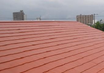 中塗りが完了した屋根
